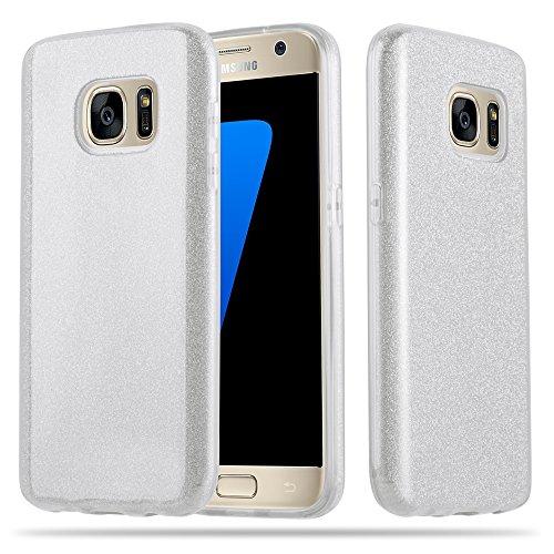 Cadorabo Hülle für Samsung Galaxy S7 - Hülle in Sternenstaub Silber – TPU Silikon und Hardcase Handyhülle im Glitzer Design - Hard Case TPU Silikon Schutzhülle