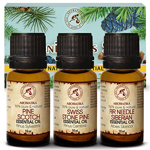 Set di oli essenziali 3x10ml - Pino cembro - Pino silvestre - Olio essenziale di Ago D'Abete Siberiano - 100% puro e naturale per aromaterapia - Sauna