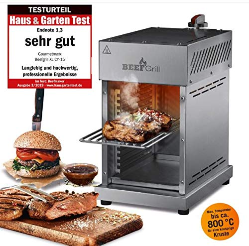 GOURMETmaxx Beef Maker by Oberhitze Gasgrill aus Edelstahl für Temperaturen bis zu 800° C