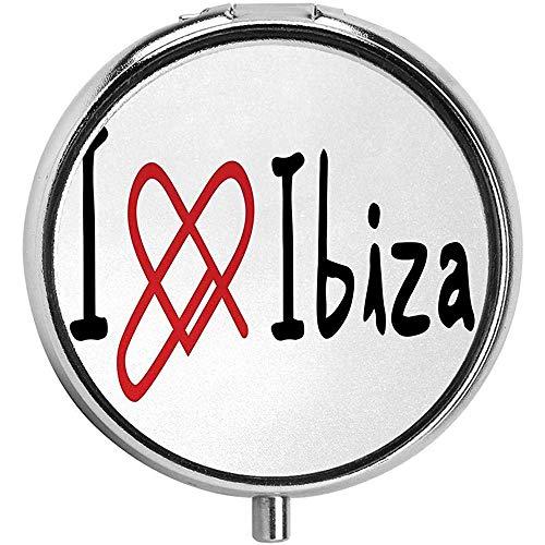 Ik hou van Ibiza boodschap Spaanse eilanden vakantie thema lijn hart motief aangepaste mode ronde pil doos portemonnee organisator case