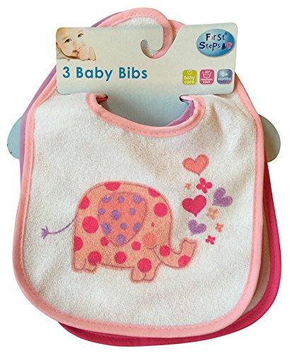 Marque New First Steps Lot de 3 bavoirs bébé 2 designs Fermeture Velcro 0 mois +