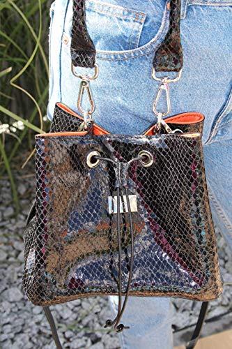 schwarzer noe Leder Beutel Handtasche Damenhandtasche Lederhandtasche Bucket Bag
