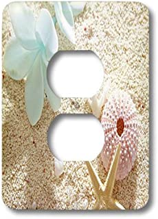 3dRose lsp_179449_6 image of flower and seashell in pastel color on white beach - 2 Plug Outlet Cover