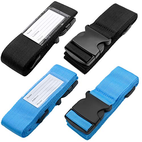 4 Pieces Luggage Straps Adjustable Luggage Belts Travel Suitcase Strap Heavy Duty Traveling Accessories for Non-Slip Reusable Locking Hard Case with Tags Buckle Closure- Black & Blue