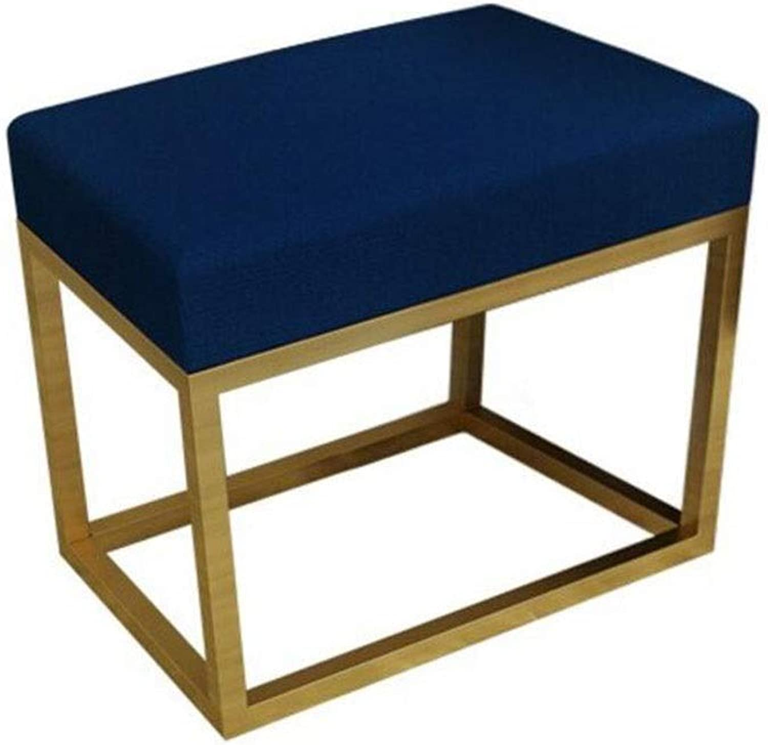 QIQI-LIFE Sofa Stool Wrought Iron shoes Stool Simple Living Room Sofa Bench Bedroom Vanity Stool (color   bluee, Size   40CM)
