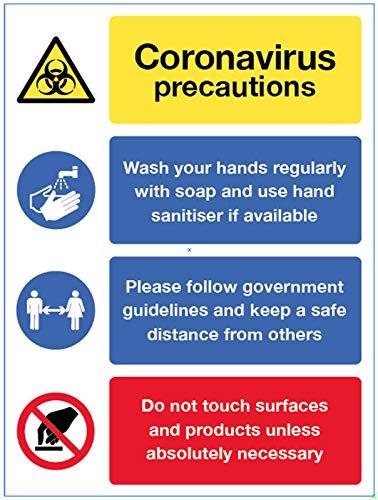 Coronavirus segnale precauzioni – lavare le mani, mantenere una distanza sicura, evitare di toccare le superfici, adesivo in vinile (250 x 300 mm)