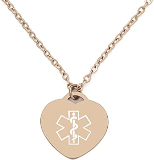 BAIYI Medical Alert ID Necklace Rose Gold Charm Heart-Shaped Dog Tag for Women and Girls,Free Engraving