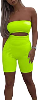 Women's Sexy Off Shoulder Neon Color Hollow Out Jumpsuit Romper Shorts