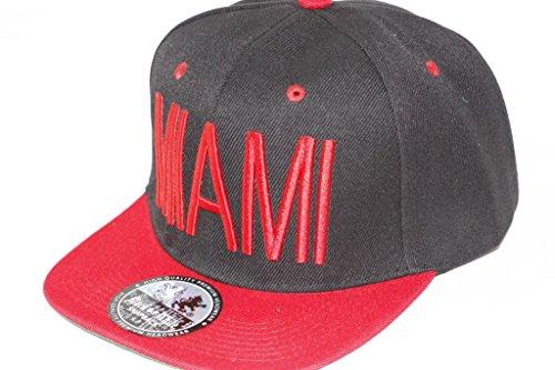 Hip Hop Casquette chapeau CITY SNAPBACK équipe ville américaine FS-413 (MIAMI-SCHWARZ-ROT-)