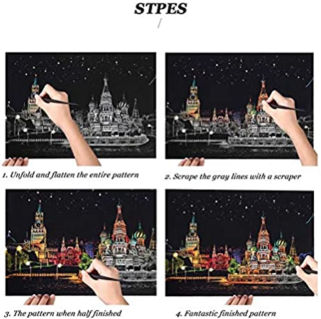 Scratchboard Arts and Crafts for Girls Kids 15.911.2inch Scratch Art for Kids 3 Pcs