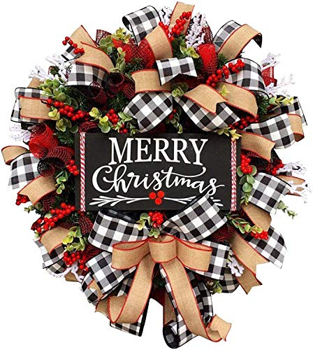 Juhenon Christmas Buffalo Check Wreath, 12IN Christmas Front Door Decorations Clearance Outdoor Wreath, Christmas Holiday Festival Window Wall Wreath Farmhouse Used for Outdoor Party Decorations Gift.