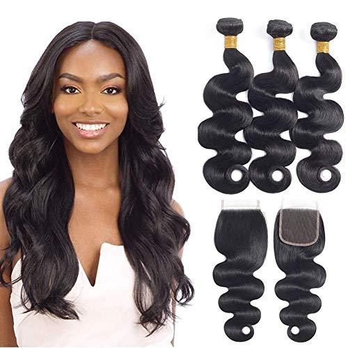 Cheveux Bresilienne lot 3 avec Closure Tissage Naturel pour Cheveux Humain Meches bresiliennes cheveux humain avec Closure Body Wave Humain Hair Bundles With Closure 10 10 10 +8 pouces