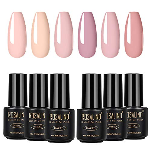 ROSALIND Gel Nagellack UV 7ml Nude farben Set,Gel Nail Polish für Nagel Design 6pcs Schellack Nagellack Starter set