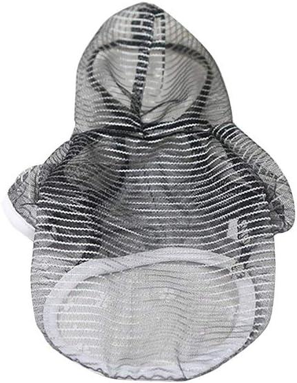 Yeucan Garza a rete Abbigliamento anti-schiacciamento nero Xs con protezione solare trasparente garza mesh Felpa estiva con cappuccio per cani e gatti XS