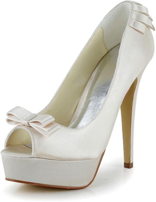 Jia Jia Women's Bridal 20117 Peep Toe Hight Heel Satin Wedding shoes