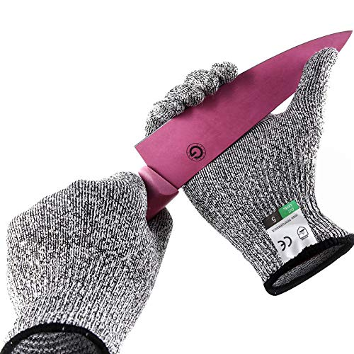 Guyarns Schnittfeste Handschuhe Lebensmittelschutzstufe 5 und EN388-zertifizierte Gartenarbeiten, Heep-Kochhandschuhe zum Austernschälen, Schweißen und Holzschnitzen (L)
