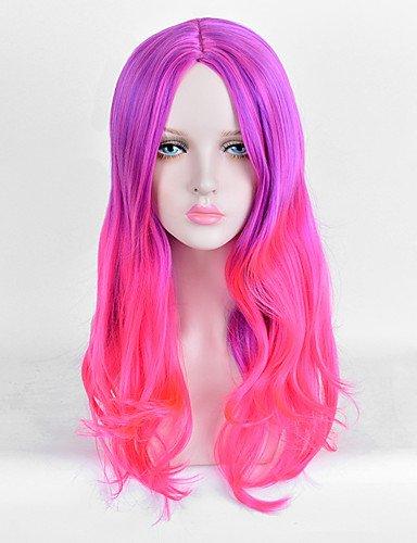 jiayy perruque Ombre qualité Barata de la manière pelucas synthétiques de deux tons, Purple