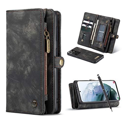 Finemoco Handyhülle für Samsung Galaxy S21 Ultra/S30 Ultra Leder Hülle mit Brieftasche Schutzhülle Premium PU 2 in 1 Abnehmbare Magnet Hülle Schwarz Flip Cover Kartenfächer GeldschmühelosHandytasche