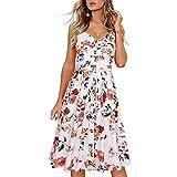 NAQUSHA Vestido midi para mujer, casual, bohemio, floral, con cuello en V, con hombros descubiertos, vestido de fiesta, vestido de fiesta, vestido de fiesta, vestido de fiesta, playa, vestido de noche
