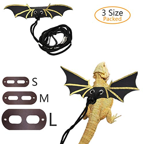 SSRIVER Adjustable Lizard Leash Reptile Harness Bearded Dragon Leash Gecko Leash with Wings Small Animal Leash (S, M, L,3 Pack)
