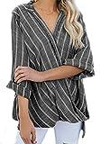 Mujer Blusa Rayas Algodón Camisas Manga Larga Cuello V Tallas Grandes (Negro)