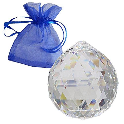 Swarovski StRASS kristallen kogel ø 40 mm met geschenkzakje als kroonluchter-gordijn raamdecoratie Feng Shui zonnevanger en woonaccessoires rijk aan regenboogkleuren