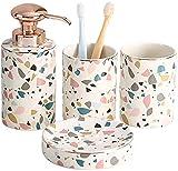 KEYREN Juego de accesorios de baño de cerámica de 4 piezas, incluye dispensador de jabón, jabonera, conjunto completo de accesorios de baño (color: predeterminado)