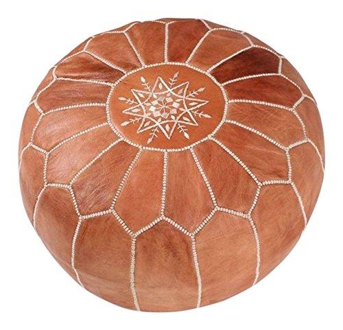 Marokkanischer Pouf | schöner handgefertigter Fußhocker-Bezug aus echtem Leder aus Marokko | braun mit weißer Naht | wird unbefüllt geliefert (hellbraun)