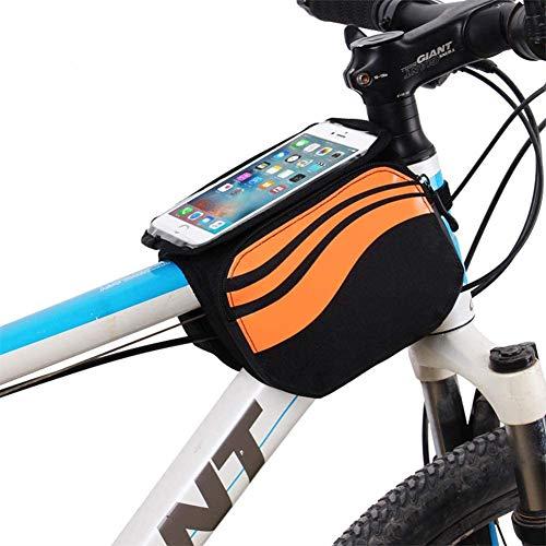 ZHANGXJ MTB Bolsas para el Manillar Bolsa Bici con Soporte para Telefono Móvil Impermeable Durable Bolsa Táctil de Tubo Superior Delantero Bolsas de Bicicleta Herramienta (Color : Orange)