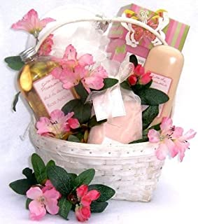 Luxurious Bath and Body Spa Gift Basket with Delicious Snacks for Her