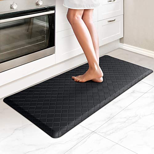 HappyTrends Kitchen Mat Cushioned Anti-Fatigue Kitchen Rug,17.3'x 39',Thick Waterproof Non-Slip Kitchen Mats and Rugs Heavy Duty PVC Ergonomic Comfort Rug for Kitchen,Floor,Office,Sink,Laundry,Black