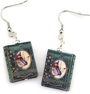 Mother Goose Nursery Rhymes Clay Mini Book Hypoallergenic Earrings by Book Beads
