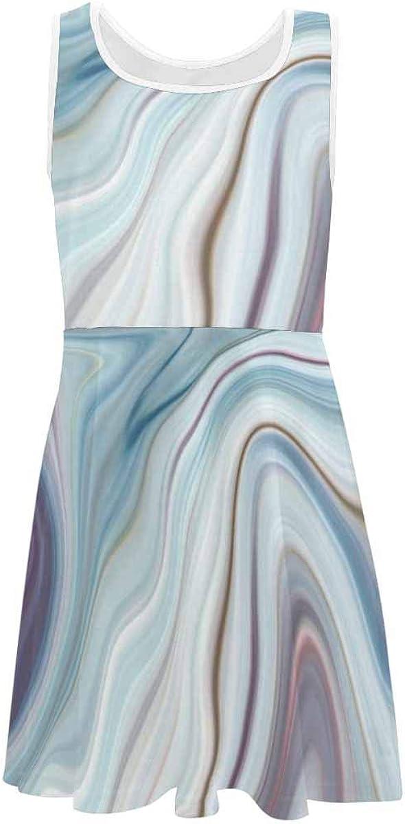 InterestPrint Kids Sleeveless Casual Summer Dress for Girls White Cherry Blossom (2T-XL)