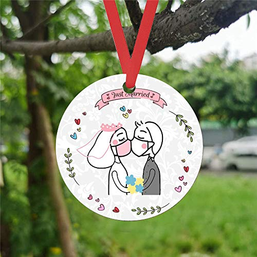 2020 Christmas Ornaments for Xmas Tree Decorations,Wedding Party for Bride,Groom,Wooden Single-Sided Printed Hanging Pendants