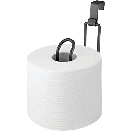 mDesign Metal Over The Tank Toilet Tissue Paper Roll Holder Dispenser and Reserve for Bathroom Storage and Organization - Hanging, Holds 1 Roll - Matte Black