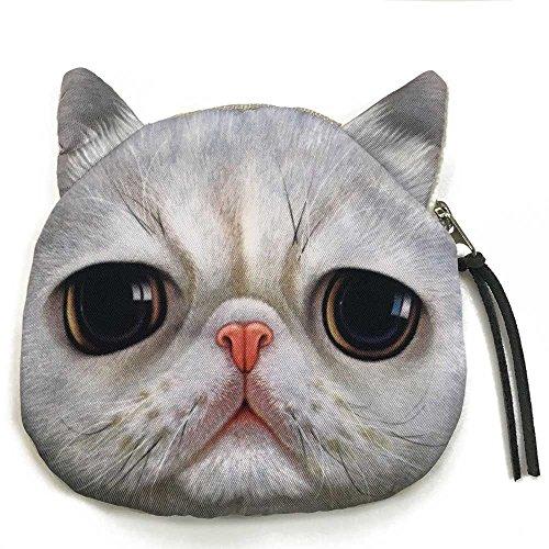 Realistic Cute White Cat Coin Purse | Adorable Big Eyes Cat Zipper Closure Wallet
