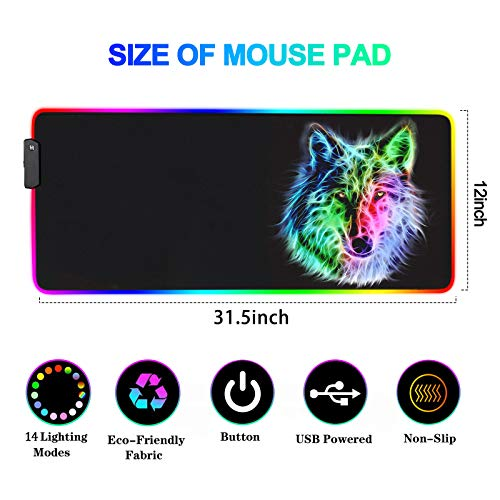 RGB Mouse Pad,Gaming Mouse Pad RGB,Cool Animal LED Mousepad-14 Light Modes Soft Non-Slip Base Large LED Mouse Mat for Laptop Computer PC Games 31.5 X 12 inches (RGB Wolf Mouse Pad) Photo #8