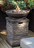 Realistic Stone-like Outdoor Patio Fire Pit Bowl with Free Cover. Get...
