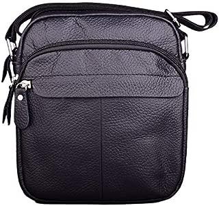 YXHM AU Classic Leather Men's Shoulder Bag Casual Messenger Bag Youth Vertical Men's Small Backpack Men's Bag (Color : Black)