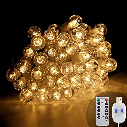 Lichterkette Kugeln, KooPower 50er LED 6.5M Lichterketten Globe mit USB Stecker 8 Modus Timer Lichterkette Dimmbar mit Fernbedienung Wasserdicht Beleuchtung für Haus, Weihnachten, Gartendekoration