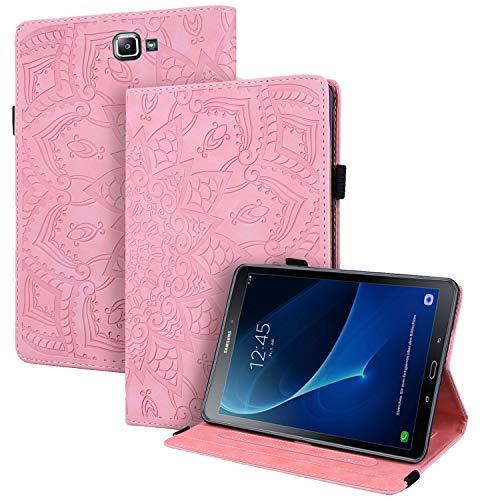 WHWOLF Funda para Samsung Galaxy Tab A 10.1 2016 (SM-T580/ T585) Carcasa Tablet Cárcasa Cuero PU Bolsillo Función de Soporte Silicona TPU Absorción de Impactos -Rosado