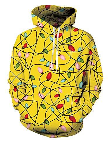 Spreadhoodie 3D Druck Kapuzenpullover für Herren Damen Funky Bunt Licht Gedruckt Pullover Hoody Leichte Sweatshirt für Casual Holiday Gelb L