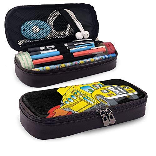 Der Magic School Bus Bleistiftbeutel Reißverschluss Leder Briefpapier Veranstalter Fächer...