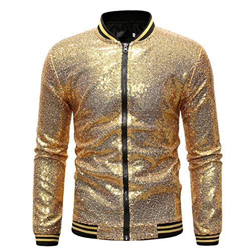Omoone Men's Zip Up Mermaid Sequin Lightweight Shiny Clubwear Bomber Jacket (0480-Gold-XL)