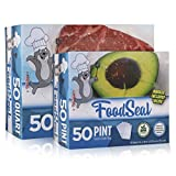 FoodSeal 50 Pint and 50 Quart Precut Vacuum Sealer Bags Combo Pack | 6' x 10' and 8' x 12' |'Easy-Grab' Dispenser | Heavy Duty | Food Saver Compatible | Fridge, freezer, sous vide, and more