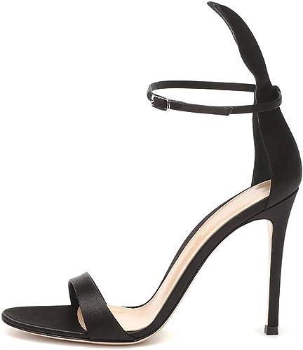 XLY Stiletto des Femmes Femmes Bout Ouvert lanière à Talons Sandale Cheville Sangle Sandales à Talons Hauts Sandales de Travail Robe de soirée de Mariage Chaussures,39  différentes tailles