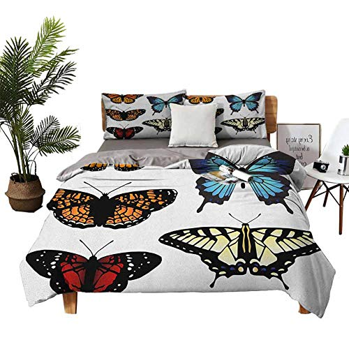 DRAGON VINES 4pcs Bedding Set flat sheet duvet cover Five Different Butterflies Colorful Monarch Lady Insect Wings Spring Multicolor Red quilt cover W90 xL90