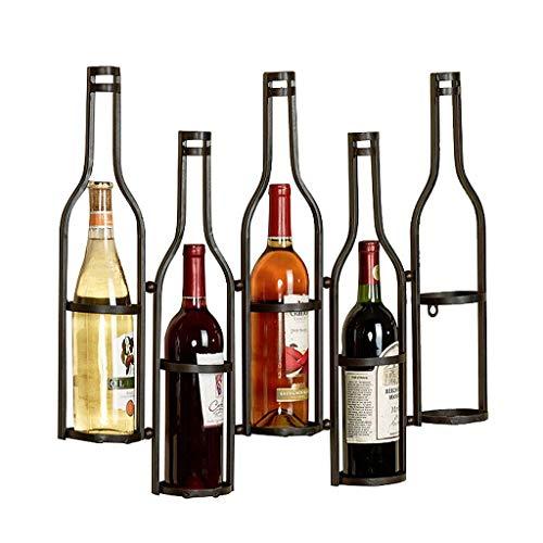 Estante de vino Rostro de vino Tenedor de vino Hierro forjado Montado en la pared Rack de vino invertido Decoración del hogar Almacenamiento de vino Rack Caja fuerte y estable Sin deslizamiento de vin