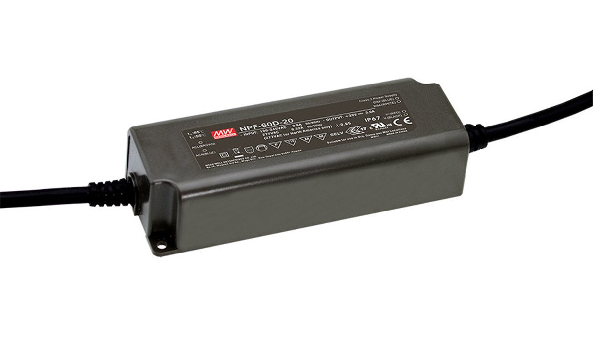 MEAN WELL NPF-60D-24 60 W Single Output 2.5 A 24 Vdc Output Max Dimmable Switching Power Supply - 1 item(s)