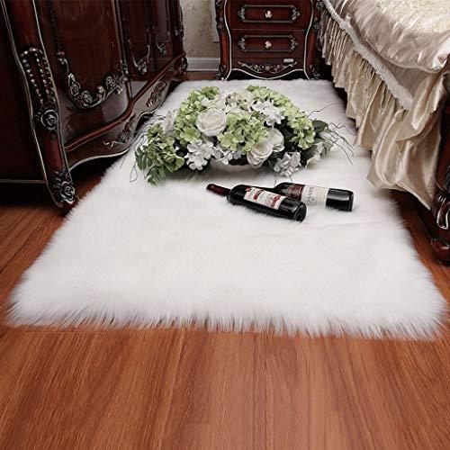 LYZL Die synthetische Long-Haar-Pelz-Teppich 5-6cm Polyester 100{20316b0574ea2a85b4e4983a5cc3c3faf6bd87587a0dd99fd0ca5e234bc42232} Harmless Artificial Fur für Wohnzimmer Schlafzimmer Sofa Boden,Weiß,100×220cm/3.2×7.2ft